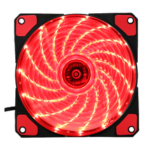 15 Lights LED PC Computer Chassis Fan Case Heatsink Cooler Cooling Fan DC 12V 4P 120*120*25mm red(China)