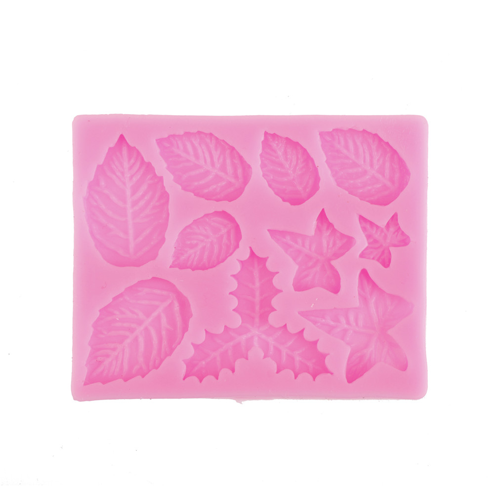 Maple Rose Leaf Cake Border Silicone Molds Christmas Cupcake Fondant Cake Decorating Tools Gumpaste Chocolate Candy Clay Moulds