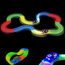 560pcs Glow Race Car Set Toys + 3 Led Cars glow racing Glowing Race Track Bend Flex Electronic Rail Roller Coaster toy for kids(China)