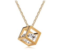 Classic Trendy CZ  Crystals Necklace Choker Gold-color Cube Pendant Necklace Fashion Bride Wedding Party Jewelry