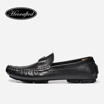 Tamaño 35 ~ 50 Hechos A Mano Genuina de cuero Planos de Los Hombres, hombres de cuero Suaves Mocasines Zapatos de Diseño Superior de Los Hombres #8803