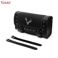 Triclicks Universal Eagle PU Leather Saddle Bags Motorcycle Saddlebag Side Storage Tool Bag For Harley Softail Dyna Sportster(China)