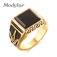 Modyle Gold-Color Cool Men Masonic Rings Stainless Steel Wedding Rings for Men Jewelry Black 15mm Wide Rings Jewelry(China)