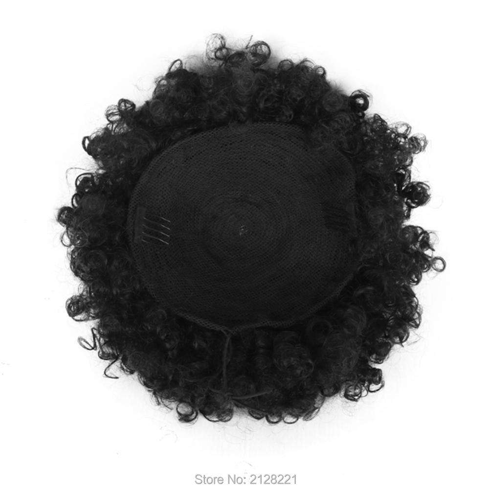 High Puff Afro Curly Ponytail Drawstring Short Afro Kinky Curly Pony Tail Clip in on Synthetic Curly Hair Bun Made of Kanekalon  (7)