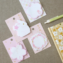 1X Romantic Pink Princess Sticky Notes Rabbit Flower Message Plan Writing Memo Pads Student Stationery Office School Supply