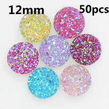 Free Shipping Multicolor 12mm 50pcs AB Flatback Resin Round Stone beads flatback Resin Rhinestone For DIY Wedding Decoration(China)