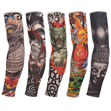 Quality Temporary Tattoo Sleeves Men Seamless Fake Tattoo Arm Warmer Stockings Elastic Tattoo Sleeves Sport Skins Sun Protective