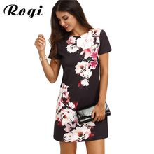 Rogi 2017 Summer Vintage Women Dress Casual Bodycon Dress Multicolor Floral Print Short Sleeve Work Office Dress Shirt Vestidos(China)