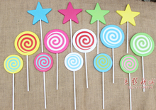 Room decoration wedding photography of children photographs round wooden props star lollipop S size 0.15KG