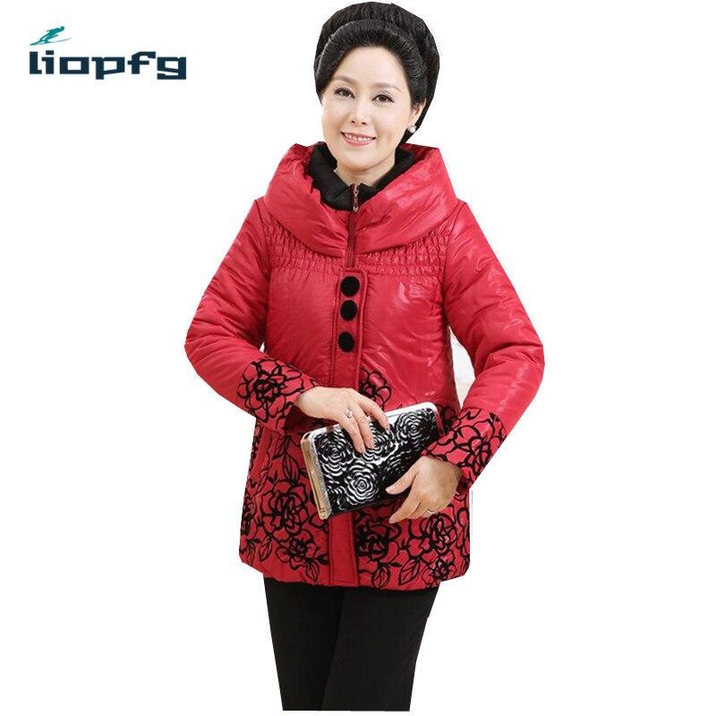 2017 Winter WomenCoat  Large Size Hooded Printed Cotton Coat Mother Loaded High-Quality Fabric Thickening Warm Cotton CoatWM404Îäåæäà è àêñåññóàðû<br><br>