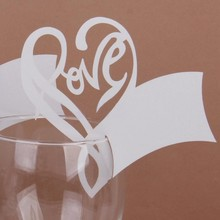 Newest  Wedding Party Decor 50Pcs Love Heart Table Mark Wine Glass Name Place Card