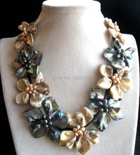 WOW!   freshwater pearl  black rice and white shell flower necklace 18inch nature wholesale beads FPPJ