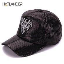 Hatlander Women summer diamond embroidery baseball cap shining sequins lady hats adjustable black caps and hats for women(China)