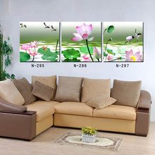 3 Panels Modern Printed Canvas Painting Picture Lotus Pattern Canvas Painting Wall Art Home Decor For Living Room Wall Picture