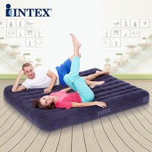 INTEX Good quality 2 person 137*191*22cm strong comfortalbe inflatable mat folding bed with electric pump(China)