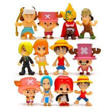 12pcs/set Mini One Piece Luffy Zoro Diy Gift Animiation Action Figure Doll House Kids Toys Miniature Model For Car Decoration