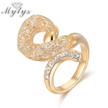 Mytys New Fashion Rings Geometric Twist Wire Mesh Net Crystal Ring Unique Design Women Jewelry Gift Wholesale Price R1206(China)