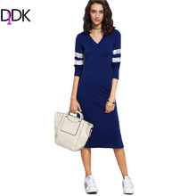 DIDK Ladies Blue V Neck Varsity Striped Jersey Sheath Dresses Womens Autumn Long Sleeve Casual Midi T-shirt Dress
