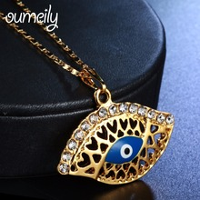 OUMEILY Hollow Blue Eye Necklaces Pendant Amulet Arab Women Men Wedding Party Engagement Jewelry Jewellery Accessories Gift(China)