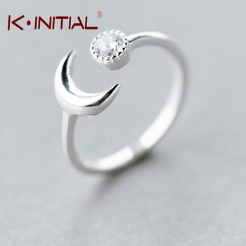 Kinitial 1Pcs Hot Sale 925 Silver Open Crescent Moon Knuckle Finger Ring Women Knuckle Half Moon Crystal Ball Ring Free Shipping