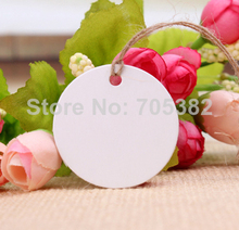 Dia: 4cm (With cord ) White blank hang tag Price tags Kraft tag Bookmarks Paper sewing garment tags Wholesale(aa-625)