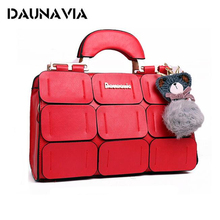 DOLOVE The New Spring And Summer 2017 Women Bag Ladies Handbags Tide Grids Car Suture Boston Women Messenger Bag(China)