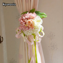 Kyunovia Curtain Flower Decoration Artificial Rose Hydrangea Wedding Church Flowers Home Hotel Table Flower Decor 6 Colors KY51(China)