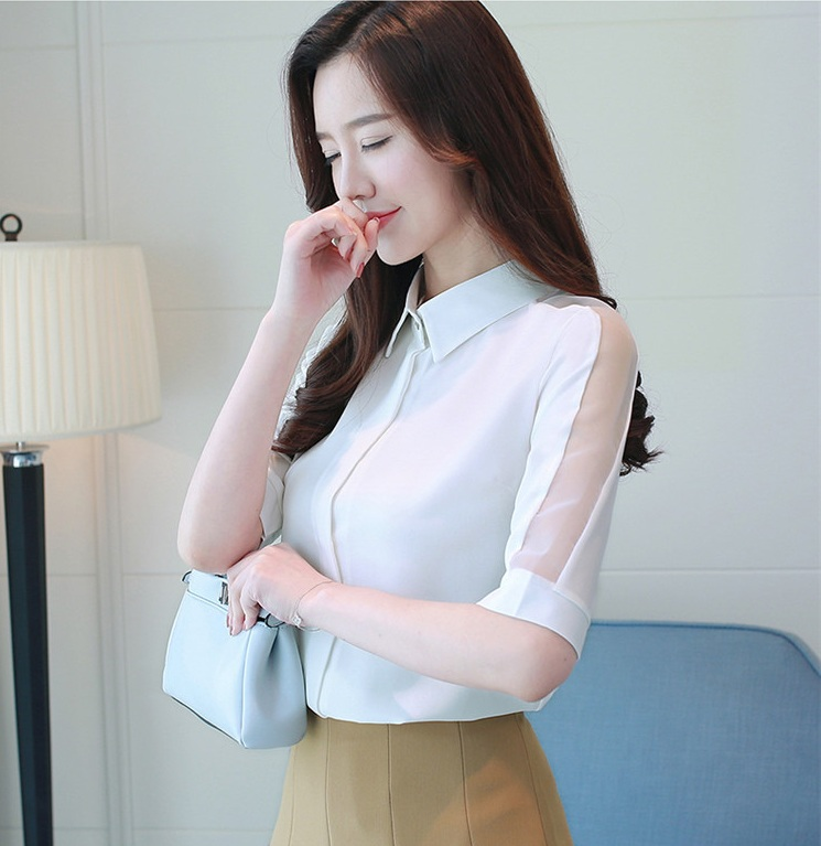 MSSNNG Women Tops And Blouses 2018 New White Blouse Shirt Fashion Mesh Short Sleeve Shirts Casual Loose Ladies Clothing Summer Top (10)