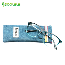 SOOLALA Oversized Womens Mens Full Rimmed Reading Glasses Large Horn Clear Lens Eyeglass Frame Reading Glass +0.5 1.5 2.5 to 4.0(China)