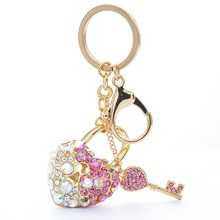 Sparkly Crystals Heart Keychain Enamel Rhinestone Key Chains Ring Accessories Kc1512 More Color(China)