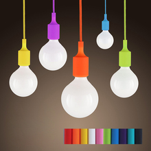 Colorful Modern Silicone Pendant Lights For Restaurants Kitchen Dining Lights E27 Edison Bulb Holder Ceiling Pendant Lamp