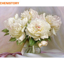 CHENISTORY Frameless Flowers DIY Painting By Numbers Acrylic Paint On Canvas Handpainted Oil Painting For Home Decor 40x50cm Art