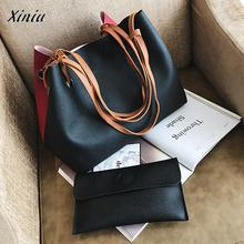 Xiniu Quality 2pcs Women Leather Luxury Brand Handbags Litchi Stria Bucket Bag Ladies Clutch Female Shoulder Bag+Messenger Bag(China)