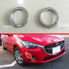 Front Fog Lamp Light Ring Trim Cover For 2015 2016  Mazda 2 Demio ABS Plastic Glossy Chrome 2pcs