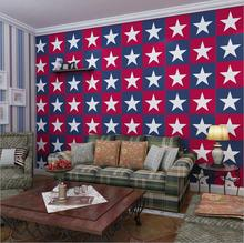 America Captain Star Style Wallpaper Roll /Natural Non-Woven Star Printed Design  bedroom Living room 3D Wall Paper Background