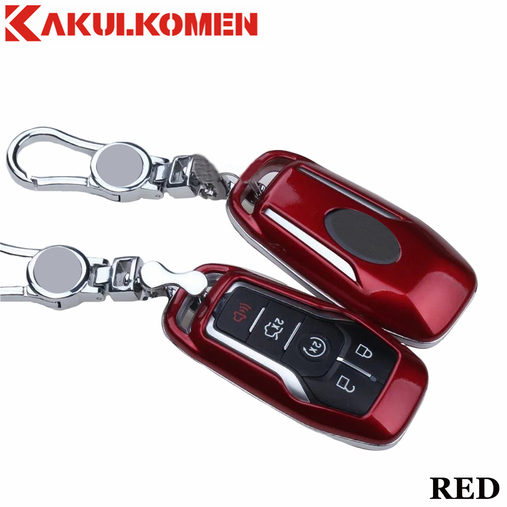 1X Red Remote Key Fob Cover TPU Case for Ford Edge Explorer Mustang 4//5-Button