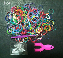 "JINSE Mix 10 Colors Rubber Loom Bands Box Set DIY Bracelets (300 bands + 1 ""Y"" Shape Mini Loom + 12 s-clips + 1 hook)(China)"