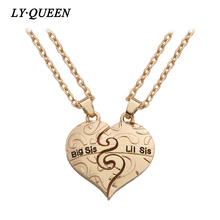 "2pcs / set Gold Heart Pattern ""Big Sis Lil Sis"" Sister Pendant Necklace Friendship Memorial Gift Forever Sister"