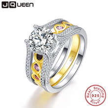 JQUEEN 2.6 Ct Infinity Amethyst Citrine 18K Gold Plated 925 Sterling Silver Wedding Band Engagement Ring Set with Jewelry Box