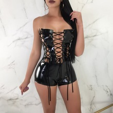 Buy Erotic Bodysuit Sexy Black Vinyl Faux Leather Lingerie Bodysuits Erotic Jumpsuit Costumes Latex Catsuit Catwomen Night Clubwear