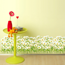 SHIJUEHEZI Chrysanthemum Baseboard Sticker PVC Material  DIY Flowers Home Decor for Kids Rooms Glass Window Decoration