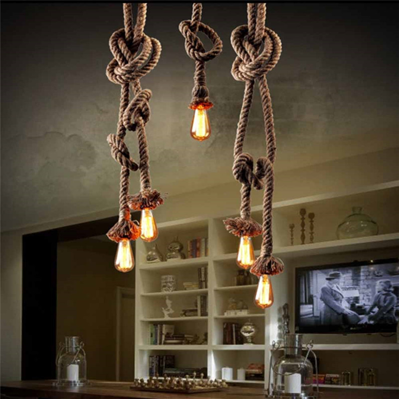 2018 new modern Retro Vintage Rope Pendant Light 450cm 2bulb Lamp Loft Creative Personality Industrial Lamp American Style<br>
