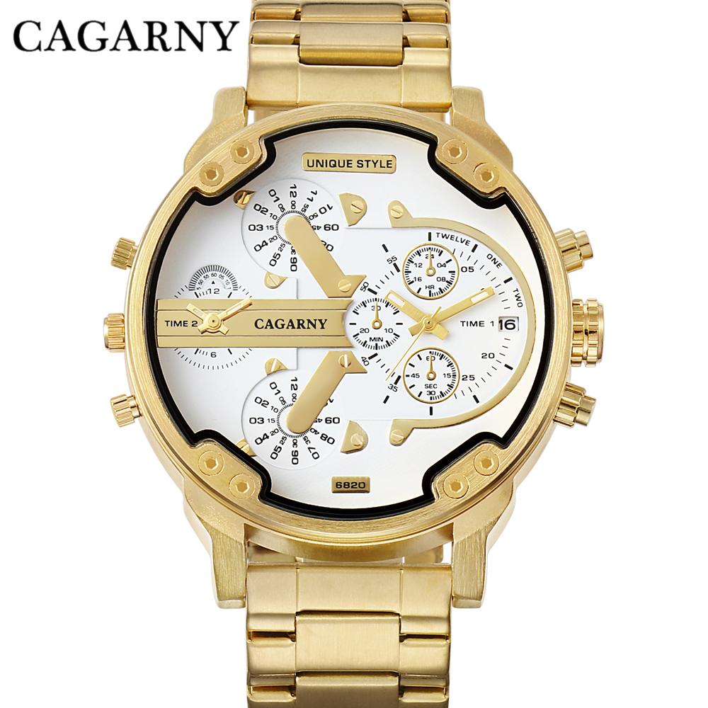 Cagarny Watches Men Fashion Quartz Wristwatches Cool Big Case Golden Steel Watchband Military Relogio Masculino Diesel Style dz6820 (2)