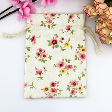 Wholesale 100pcs mini Drawstring Cotton Bag Gift Tea Sachet Storage Pouch Mini Pink Flower Pattern Packing Bags 10*14cm(China)