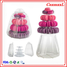 New premium food plastic blister tower tiers display 0.8 mm clear PVC material stand hold 47 macarons manufacturing