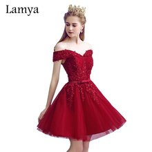 Lamya Sexy Red Lace Elegant Knee Length Prom Dresses 2017 New Arrived Women Beading A Line Evening Party Dress With Bow