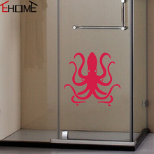 EHOME Octopus Wall Stickers For Bathroom Door Decor Waterproof Vinyl Adhesive Wall Decals Animals Kids Room Mural