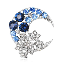 Top-grade Pin Up Rhinestones Pins And Brooch Fashion Wedding Accessories Jewelry Moon And Star Shape Austrian Crystal Brooches