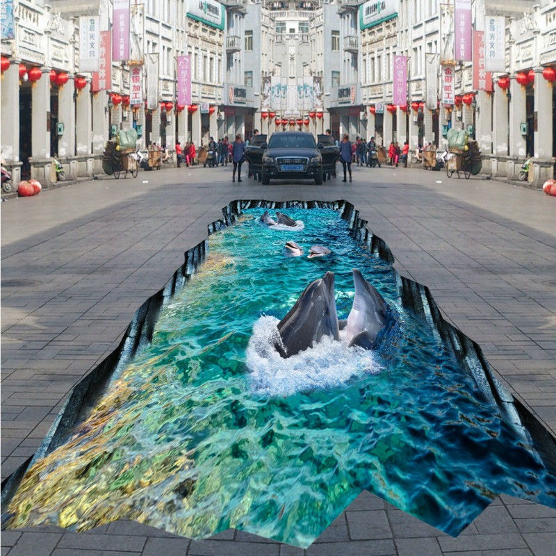 Free Shipping 3D dolphin square street outdoor park thickened living room bedroom bathroom study lobby flooring mural<br><br>Aliexpress