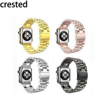 CRESTED Stainless Steel watch Band For Apple Watch band 42 mm 38 mm Link Bracelet Smart Watch Metal Band for iWatch serise 1 2